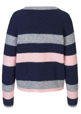 Samsøe & Samsøe - Knit - Nor O-neck  Multi Stripe - Dark Blue Multi
