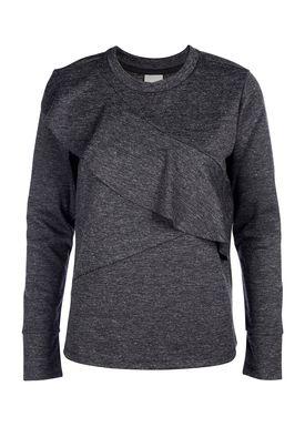 Selected Femme - Bluse - Elma LS Frill Top - Mørk grå melange