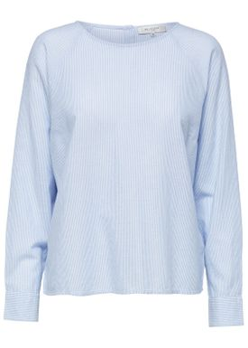 Selected Femme - Blouse - Tania LS Blouse - Light Blue Stripes