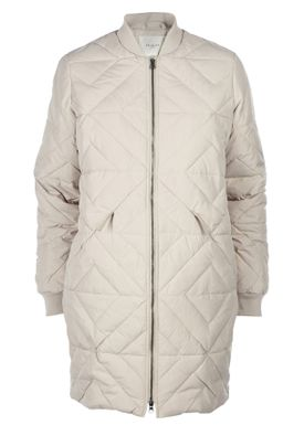 Selected Femme - Coat - Olivia Long Down Jacket - Gray Morn (Light Beige)
