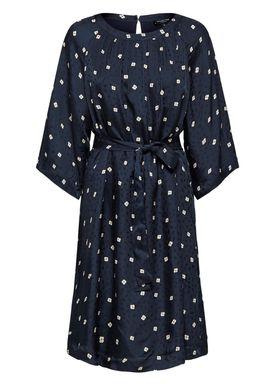 Selected Femme - Kjole - Alima Short Dress - Dark Sapphire/Tan Flower