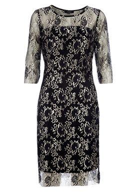 Selected Femme - Kjole - Brina 3/4 Lace Dress - Sort/Guld