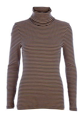 Selected Femme - Rullekrave - Netta Rollneck - Beige/Navy Strib