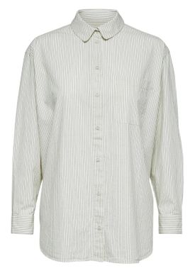 Selected Femme - Skjorte - Olivia 7/8 Oversize Shirt - Birch w. Blue Stripes