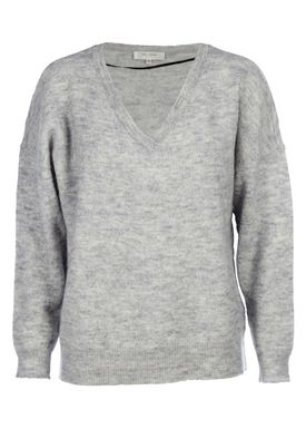 Selected Femme - Strik - Livana Knit V-neck - Light Grey Melange