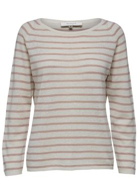Selected Femme - Strik - Nive Stripe Knit Pullover - Shadow Grey Stripe