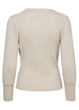 Selected Femme - Knit - Pinna Cropped O-neck - Sand Collar