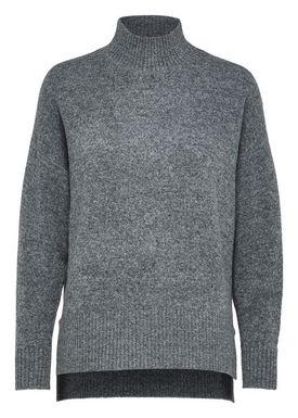 Selected Femme - Strik - Lara LS Highneck Knit - Medium Grey Melange