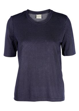 Selected Femme - T-shirt - Reina 2/4 Tee - Navy w. White pinstripe