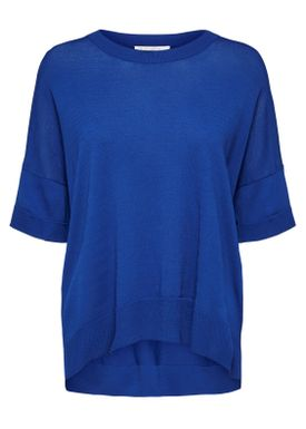 Selected Femme - T-shirt - Willow Knit O-Neck - Surf The Web Blue