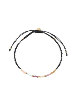 Stine A - Bracelet - Berry Rainbow Mix Bracelet - Black Spinel and Black Ribbon