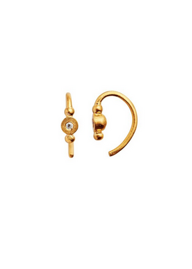Stine A - Earrings - Petit Bon Bon Zircon Earring - Gold/White Zircon