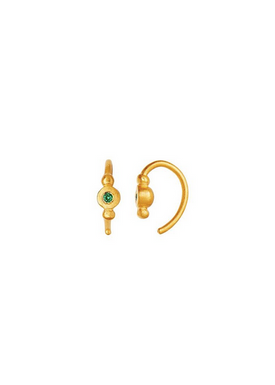 Stine A - Earrings - Petit Bon Bon Zircon Earring - Gold/Green Zircon