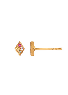 Stine A - Stud Earrings - Petit Candy Harlekin Earring - Gold/Multi stone