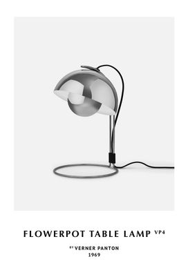 &tradition - Lamp - Flowerpot table lamp - VP4 by Verner Panton - VP4 - polished stainless steel