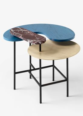 &tradition - Sofabord - Palette Table / JH6 / JH7 / JH8 - Brass, red Rosso Levanto marble, blue stained ash / JH8