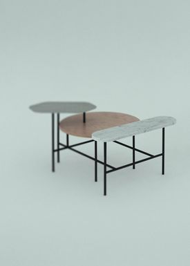 &tradition - Sofabord - Palette Table / JH6 / JH7 / JH8 - Stainless steel, Bianco Carrara marble, Pale pink stained ash / JH6