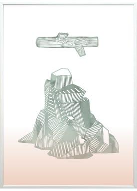 Kristina Dam - Poster - Wood + Mountain A3 - Tie Dye Print
