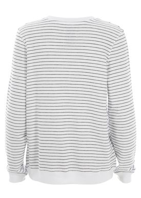 Zoe Karssen - Sweatshirt - Loose Fit Striped Love Potion Sweatshirt - Hvid/Sort Strib
