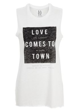 Zoe Karssen - Top - Loose Fit Muscle Tank Love Comes To Town - Hvid