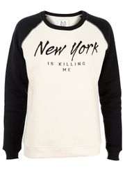 Zoe Karssen - Blouse - Loose Sweat New York Is Killing Me - Nude/Black