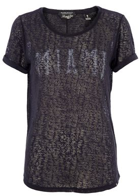 Maison Scotch - T-shirt - All-Over Burnout Tee Miami - Sort Burnout