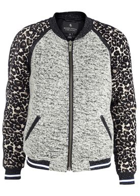 Maison Scotch - Jakke - Baseball Jacket in Jacquard Boucle Mix - Lysegrå m. Print