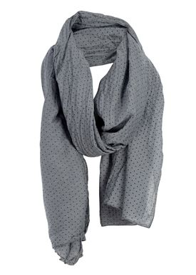 Black Colour - Scarf - Blue Dot Scarf - Grey