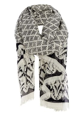 Black Colour - Scarf - Gita Wool Scarf - Crema Print