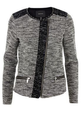 Maison Scotch - Blazer - Boucle Blazer w. Zip Detail - Sort/Hvid