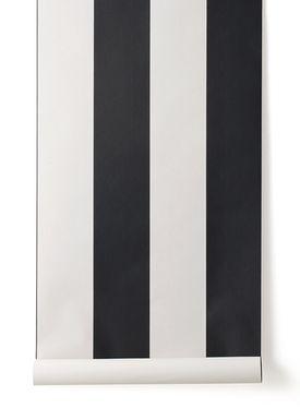 Ferm Living - Tapet - Vertigo Wallpaper - Sort/Creme