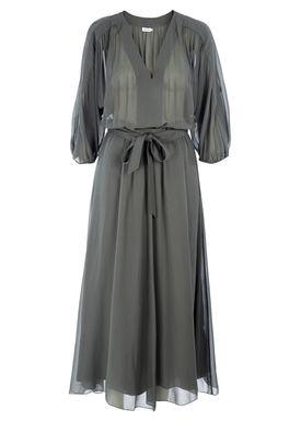 Filippa K - Kjole - Silk Chiffon Belt Dress - Støvet Grøn