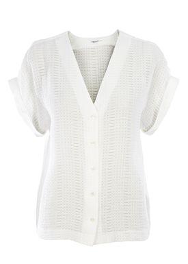Filippa K - T-shirt - Structure Blouse Lace - Hvid
