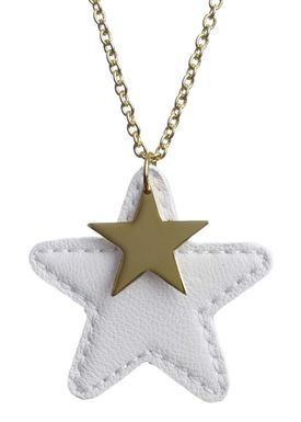 Leather Star Halskæde Off-white (guld)