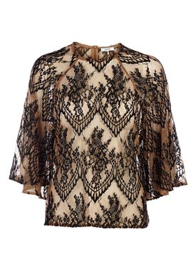 Ganni - Bluse - Larkin Lace Blouse - Tobacco Brown/Black