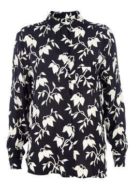 Ganni - Kjole - Maxwell Shirt - Blå m. hvide blomster