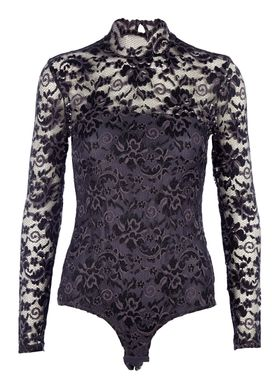 Ganni - Top - Flynn Lace Body - Grå/Sort