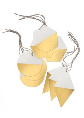 Ferm Living - Julepynt - Geometric Gift Tags - Guld (Set of 9)