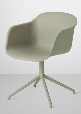 Muuto - Chair - Fiber Chair - Swivel Base - Dusty Green/Dusty Green