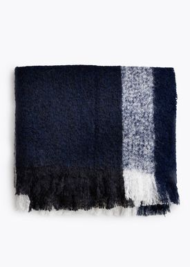 New Works - Tæppe - Check Throw - By Malene Birger - Marine Blue Mohair