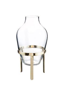 Nordstjerne - Vase - Glass Vase w. Stand - Small - Matt Brass stand