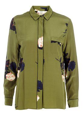 Sally-B - Skjorte - Donaldson Silk Shirt - Oliven m. Blomster Print