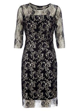 Selected Femme - Dress - Brina 3/4 Lace Dress - Black/Gold