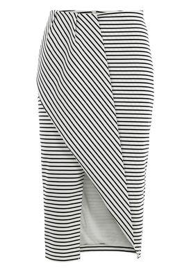 Finders Keepers - Nederdel - Tightrope Midi Skirt - Sort/Hvid Strib