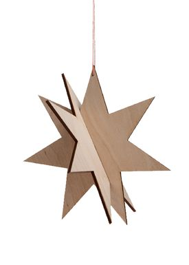 Ferm Living - Julepynt - Wooden Star - Birch - Birk - Large