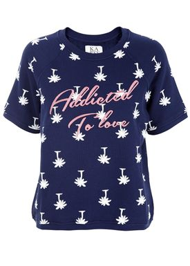 Zoe Karssen - Sweatshirt - Loose Fit Raglan Palm Trees - Blå