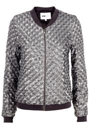 POP cph - Jacket - Geometric Sequins Bomber - Silver