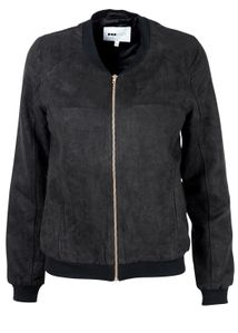 POP cph - Jacket - Faux Suede Bomber w. Copper Zipper - Black