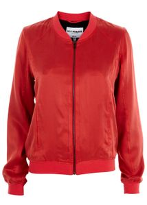 Sand-washed Silk Blouson Jacket Red