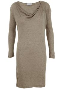 Second Female - Dress - Eva Dress Solid - Dark Sand Melange